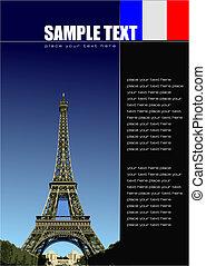 vettore, coperchio, illustrazione, francia, images., opuscolo