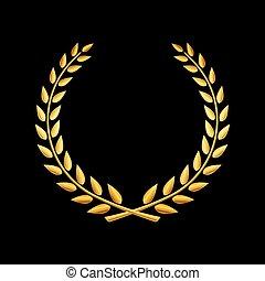 vettore, corona d'alloro, oro, premio