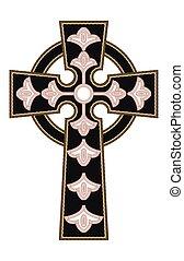 vettore, cristiano, croce, ornare