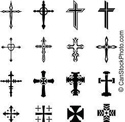 vettore, croce, icone