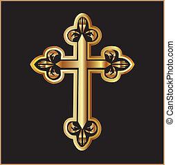 vettore, croce, oro, cristianesimo
