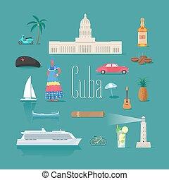 vettore, cubano, set, limiti, icone