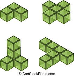 vettore, cubi, 3d