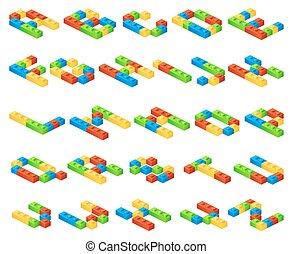 vettore, cubi, alfabeto, costruttore, lettere, fatto, isometrico, plastica, 3d