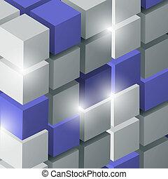 vettore, cubi, fondo, 3d