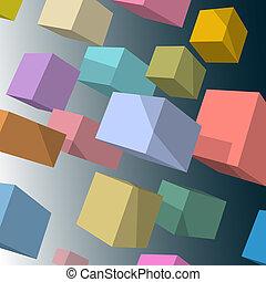 vettore, cubi, sfondo colorato, 3d