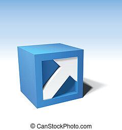 vettore, cubo, infographic, freccia, 3d
