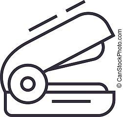 vettore, cucitrice, colpi, editable, illustrazione, segno, fondo, icona, linea