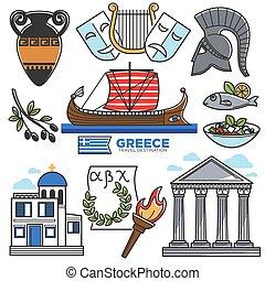 vettore, cultura, sightseeing, limiti, icone, viaggiare, grecia