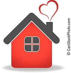 vettore, cuore, casa, logotipo, disegno