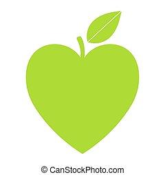 vettore, cuore, concetto, essere, eco, vegan, verde, leaf., forma, usato, disegno, lattina, sanità, erbaceo, logotipo, cura, o, natura, icona