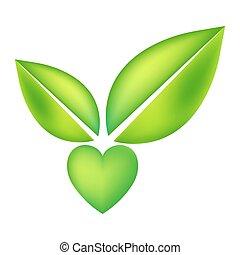 vettore, cuore, concetto, essere, eco, verde, vegan, due, leaves., forma, usato, disegno, lattina, sanità, erbaceo, logotipo, cura, o, natura, icona