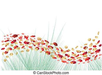 vettore, cuori, fiori