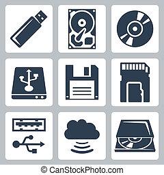 vettore, dati, set, magazzino, icone