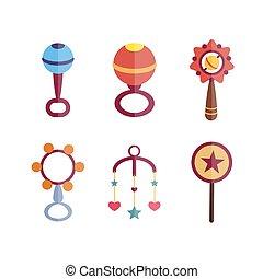 vettore, day., beanbag, giocattolo bambino, fondo., bianco, childrens, illustration., casato, elementi