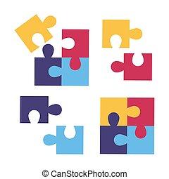 vettore, day., colorito, puzzle, fondo., bianco, childrens, illustration., casato, elementi