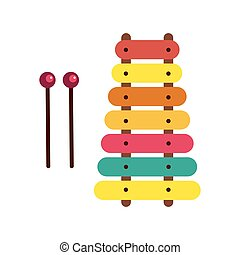 vettore, day., colorito, xilofono, giocattolo, fondo., bianco, childrens, illustration., casato, elementi