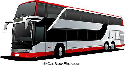 vettore, decker, coach., doppio, rosso, bus., illustrazione, turista