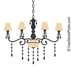 vettore, decorativo, interno, lustro, elemento, stanza, candeliere, illustration., appartamento, vivente, vendemmia