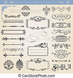 vettore, decorazioni, calligraphic