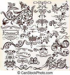 vettore, design., set, elementi, calligraphic
