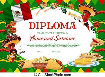 vettore, diploma, scuola, educazione, peperoni, chilli