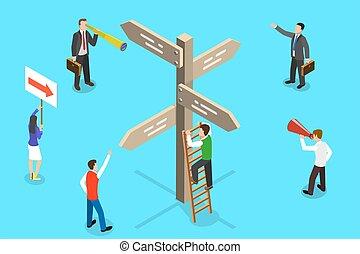 vettore, direction., isometrico, destra, concetto, scegliere