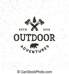 vettore, disegnato, avventura, vendemmia, emblem., mano, disegnato, esterno, retro, regione selvaggia, logo., illustrazione