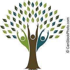 vettore, disegno, albero, libertà, logo., grafico