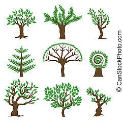 vettore, disegno, albero., set