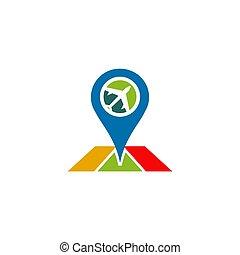 vettore, disegno, ditta, aeroplano, logotipo, viaggiare, tempate, icona