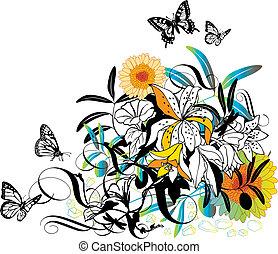 vettore, disegno, floreale