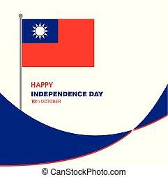 vettore, disegno, indipendenza, taiwan, giorno, scheda