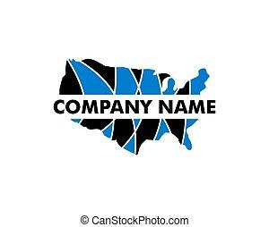 vettore, disegno, mappa, logotipo, americano, sagoma