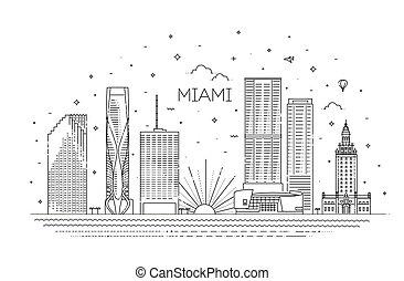 vettore, disegno, miami, illustrazione, città, appartamento, orizzonte