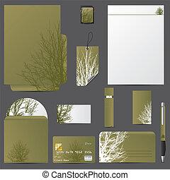 vettore, disegno, set, albero, affari