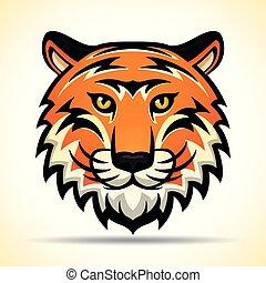 vettore, disegno, tiger, grafico, testa