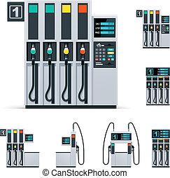 vettore, distributore di benzina, set, pompe