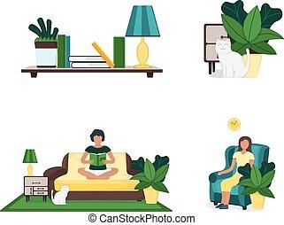 vettore, divano, verde, confortevole, foglia, mensola, illustration., moderno, donna, poltrona, vaso, interno, resto domestico, appartamento, set, parete, roba, divano, isolato, carattere
