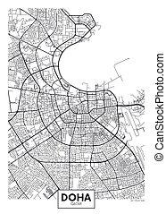 vettore, doha, città, dettagliato, mappa, manifesto