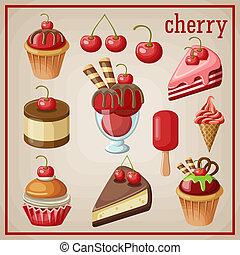 vettore, dolci, set, cherry., illustrazione