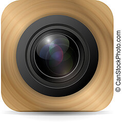 vettore, domanda, macchina fotografica, icona