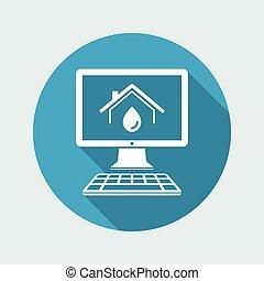 vettore, domestico, -, sistema, idraulico, domanda, icona computer