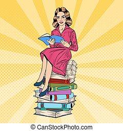 vettore, donna, arte, seduta, books., giovane, pop, libro, illustrazione, carino, lettura, pila