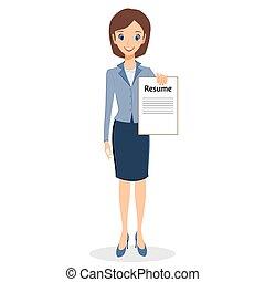 vettore, donna, carattere, affari, riprendere