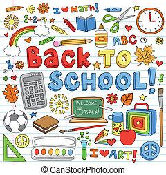 vettore, doodles, scuola, set, indietro