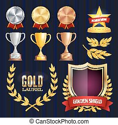 vettore, dorato, campionato, 3, distintivo, labels., dorato, 2, trofei, bronzo, vuoto, 1, tesserati magnetici, collection., premi, argento, place., medaglia, achievement., blank., design.