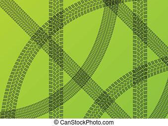 vettore, ecologia, pneumatico, ingombri, illustrazione, trattori, mietitori, sfondo verde, sostenibile, agricoltura