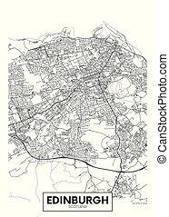 vettore, edinburgh, città, dettagliato, mappa, manifesto