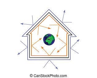vettore, efficienza, energia, concetto, illustrazione